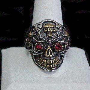 Other - Stainless Steel Red Eye Skeleton Ring